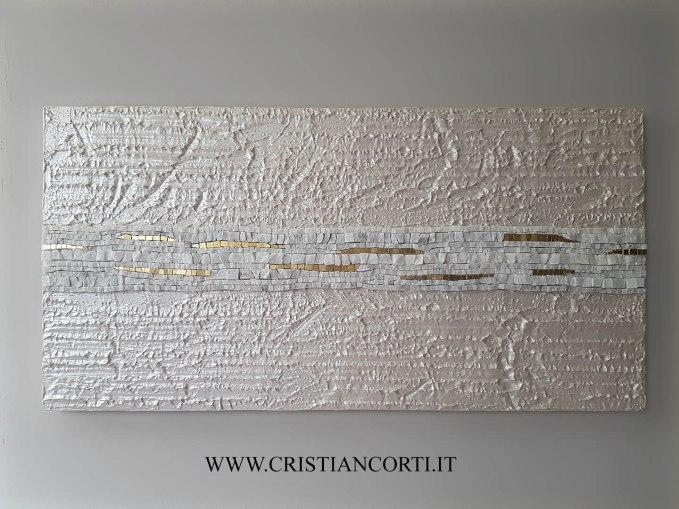 Quadro moderno materico in rilievo con mosaico in marmo Bianco ...